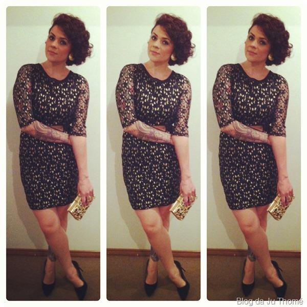 look vestido de renda preto com dourado