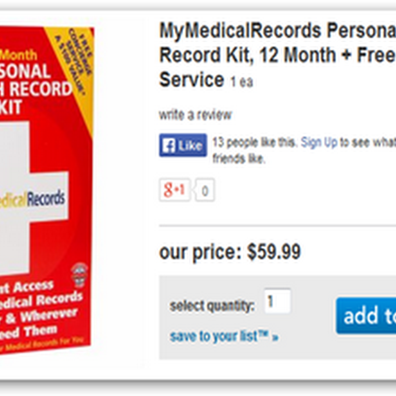 MyMedicalRecords, PHR In A Box Now Available at Drugstore.Com (Subsidiary of Walgreens)