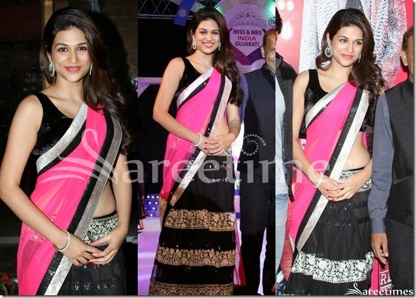 Shraddha_Das_Pink_and_Black_Half_Saree
