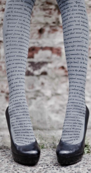 Love Text Print Tights Grey from TrendyLegs