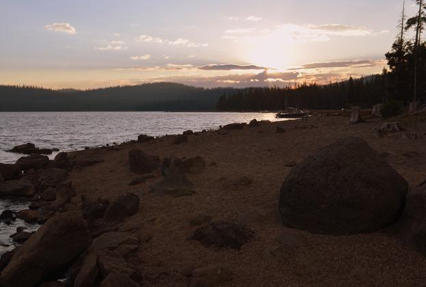 sunset at Medicine Lake