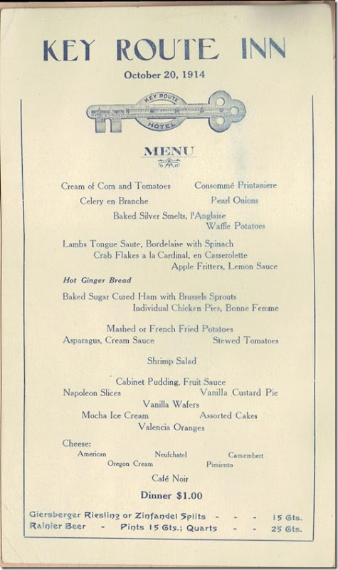 Key Route Inn Menu