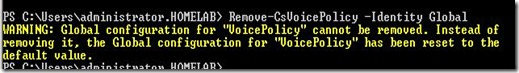 Lync Pol - Remove-CsVoicePolicy Global