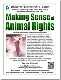 Making Sense of Animal Rights 13th September 2014