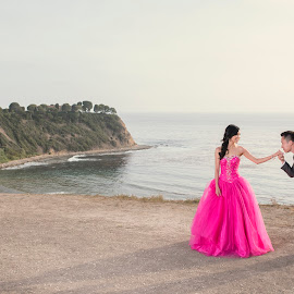 Bow To A Princess In Pink by Yansen Setiawan - Wedding Other ( creative, art, losangeles, lady in pink, illusion, coast, love, yansensetiawanphotography, fineart, prewedding, d800, wedding, lifestyle, la, photographer, pink, yansensetiawan, nikon, yansen, engagement )