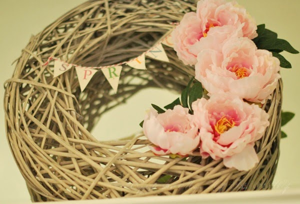 Spring Wreath Banner with peonies