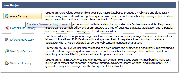 Creating a new Azure Factory project.