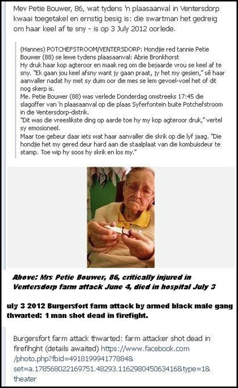 Bouwer Mrs Petie 88  critically injured in farm attack on June 4 2012 Ventersdorp DIES JULY 3 2012