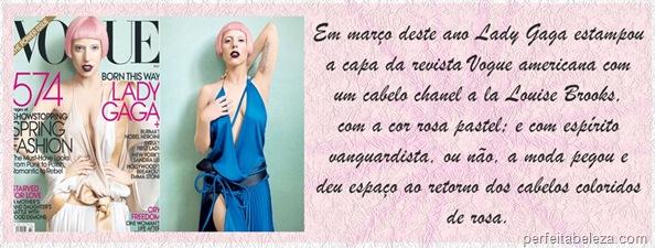 Lady Gaga-Revista Vogue-Perfeita Beleza-Cabelo Rosa