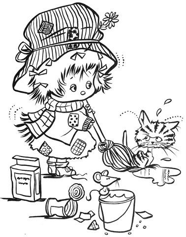 desenhos-colorir-menina-varrendo-gato