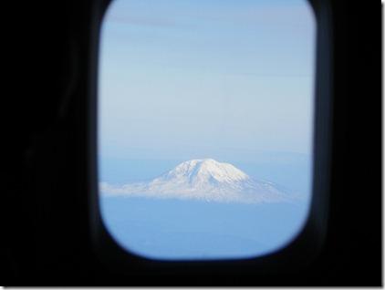 Mount Ranier framed by plane window.