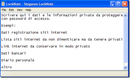 LockNote digitare informazioni personali da proteggere con password