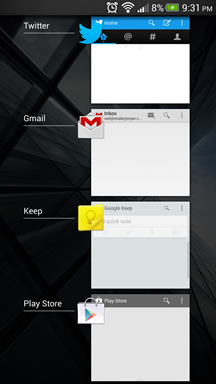 Stock Android App Switcher HTC Sense 5