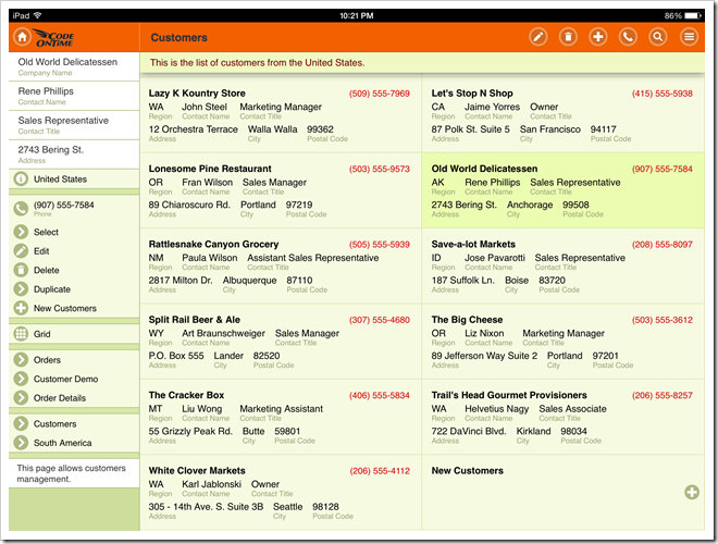 A web app displayed in full screen mode on iPad Air. The app has been created with Code On Time app generator.
