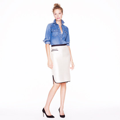 I adore this pencil skirt and have been keeping it in the back of my mind for my holiday parties. I'd top it with a chambray shirt as well, but swap out these basic black pumps for killer red ones to add extra holiday cheer! (Tuxedo Pencil Skirt, $158, jcrew.com)