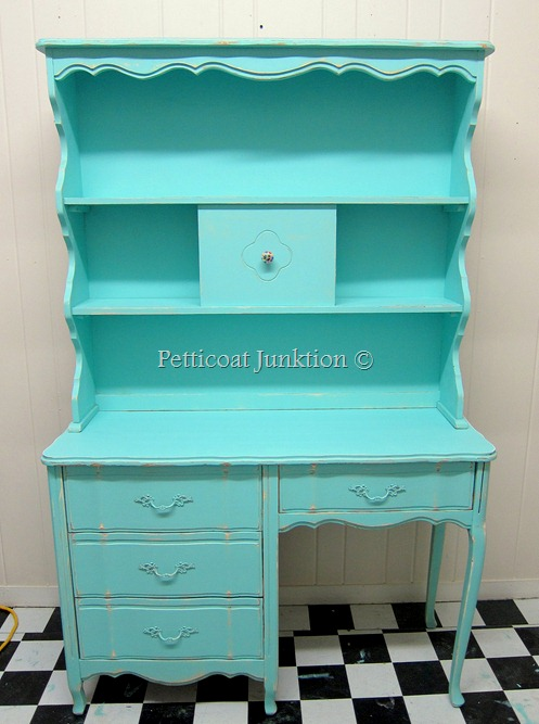 Turquoise Taffy…. Vintage French Provincial Desk and Hutch ...