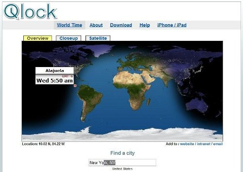 World clock and local time finder by qlock.com