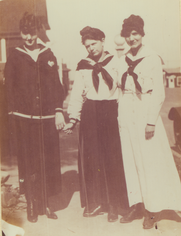 Cousin Marion, Glady, and Dorothy Putnam (middle) at Ocean Park. 1914.