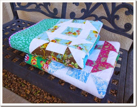 Folded churn dash quilts