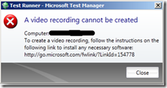 Video Recording can not be created
