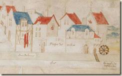 Dessin du Moyen Age montrant un ensemble de maisons