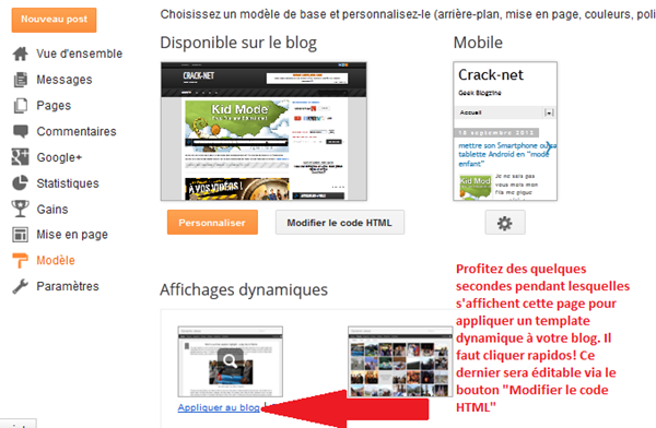 modifier le template blogger