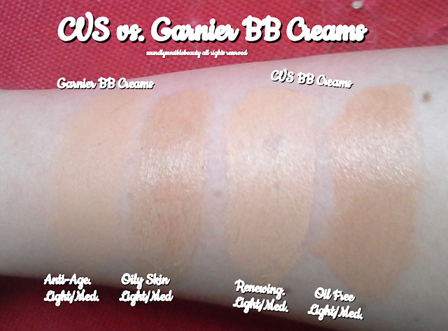 CVS Renewing & Oil Free BB Cream, Review & Swatches of Shades Light & Medium