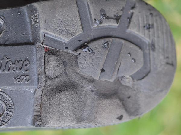 a heel falling apart