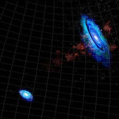 gráfico mostra a ponte gasosa entre M31, à direita, e M33