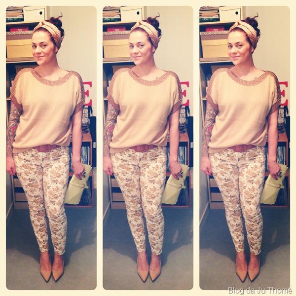 look calça floral, tricot nude renner e lenço no cabelo (1)