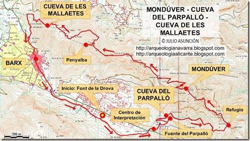 Mapa Mondúver - Parpalló - Mallaetes