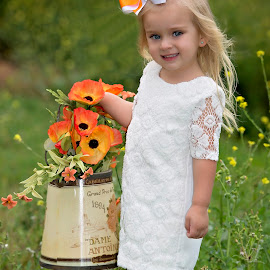 I'm so pretty by Carole Brown - Babies & Children Child Portraits ( white lace dress, blonde hair, blue eyes, flowers )