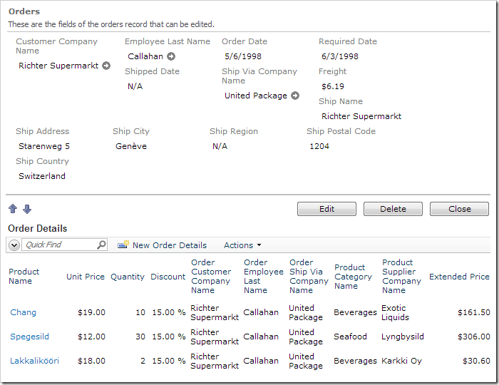 Extended Price column available in Order Details grid view.