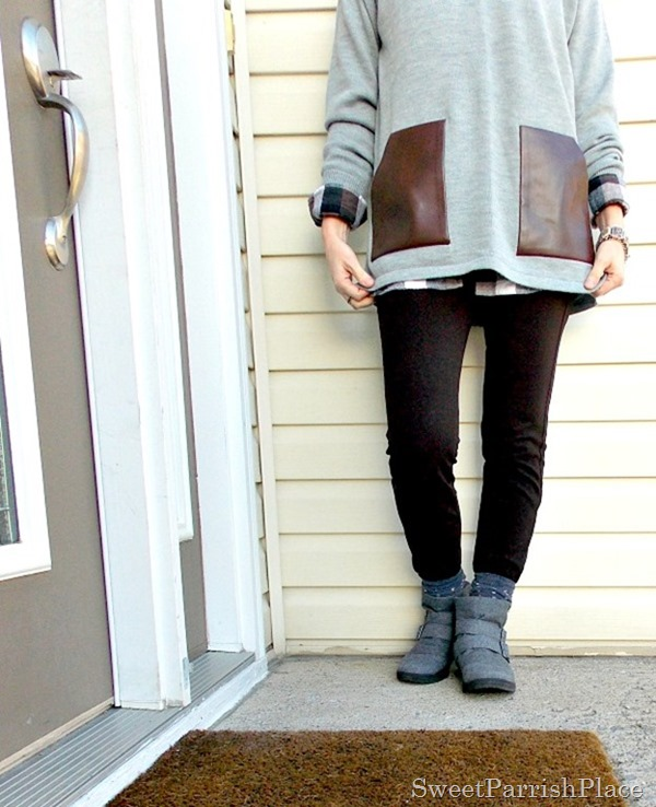grey sweater with leather pockets and plaid shirt3