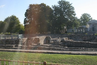 view from the bus of the roman ruins of Aquincum north of Budapest