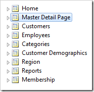 Master Detail Page placed after Home page in the Project Explorer.