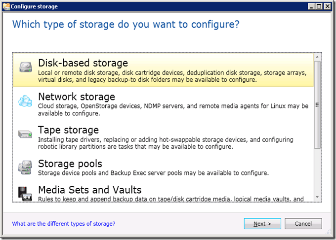 Which type of storage do you want to configure