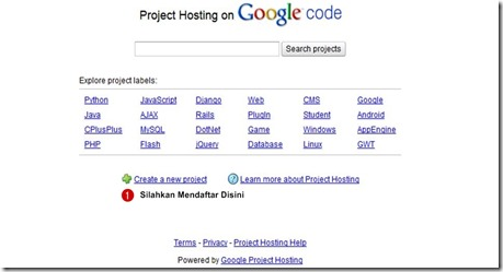 Cara Mendaftar di Google Code