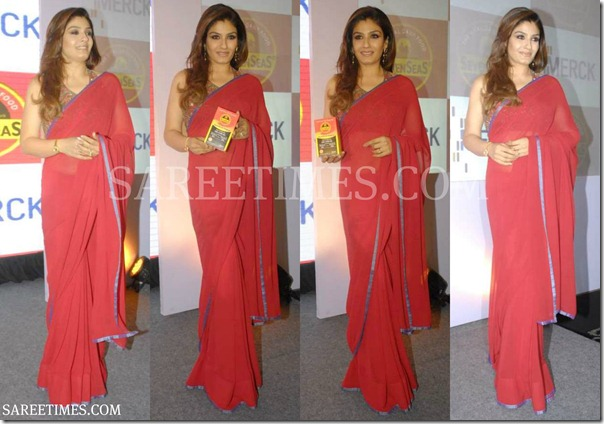 Raveena_Tondon_Plain_Saree