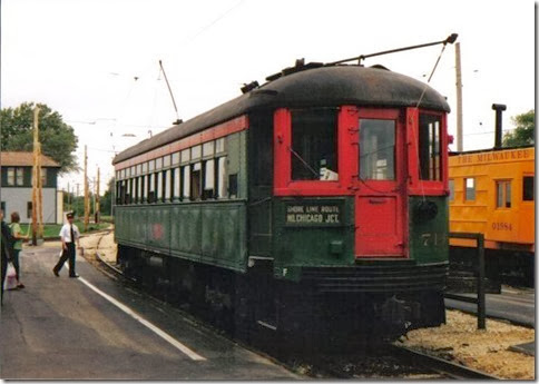 North Shore Line Interurban Coach #714 at the Illinois Railway Museum on May 23, 2004