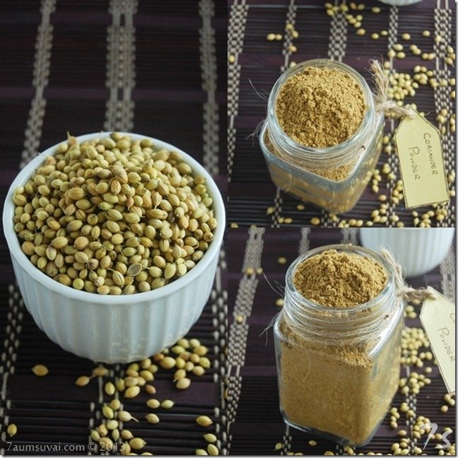 Coriander powder process collage