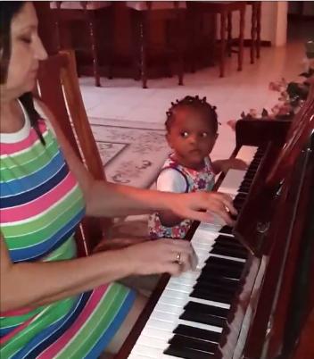 Peter Okoye's daughter and grandmum