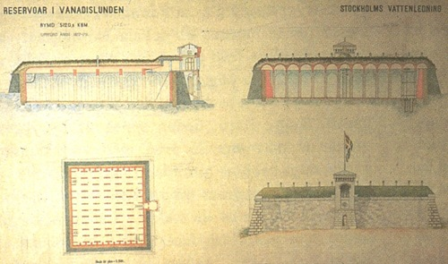 Vanadislundens gamla reservoar. Ritning 1879. Stockholm Vatten
