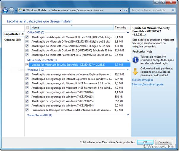 Atualizações do Windows 7: 12/02/2013 - Nota: a atualização do Visual Studio não conta