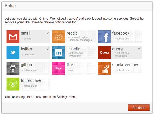 chime : Centralisation de toutes les notifications des réseaux sociaux et de vos messagerie sur une même interface