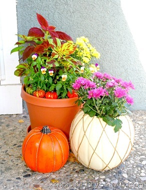 Twine Striped Pumpkin Tutorial and Fall Front Porch
