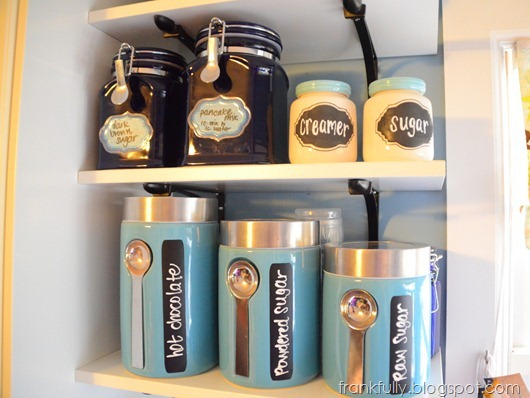 blue kitchen jars with chalkboard labels