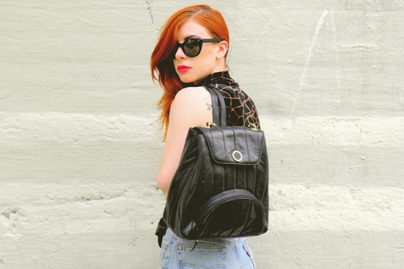 Leather backpack rucksack 1