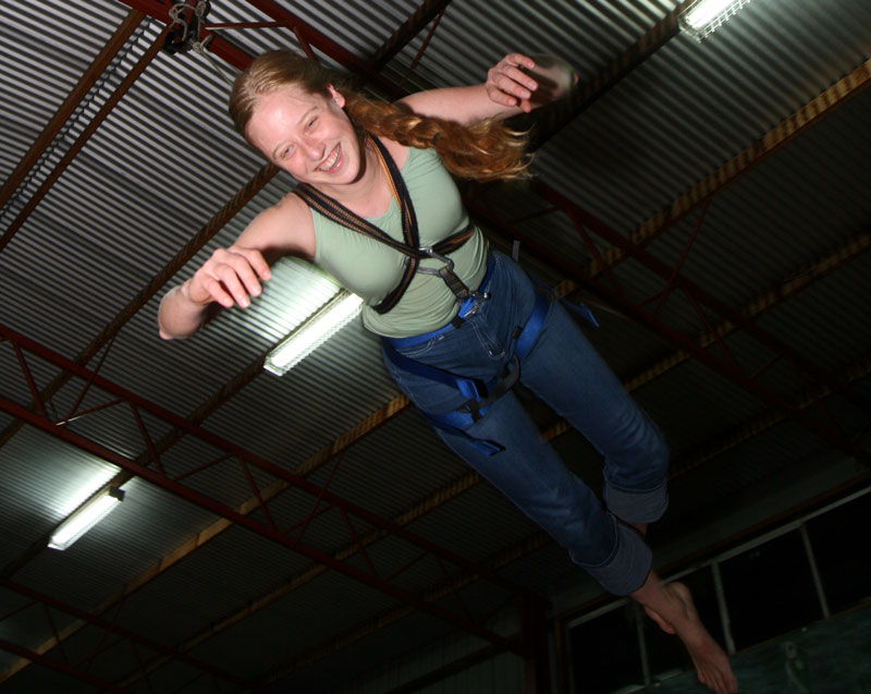 Bronwen hanging from rope, Scout Hall