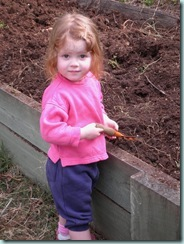 Lilian digging in garden